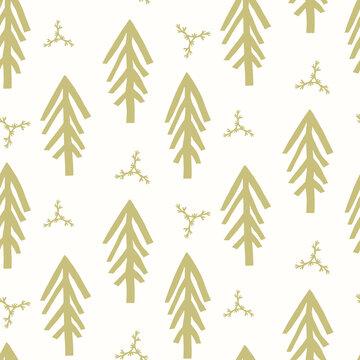 Seamless minimal winter tree holiday background. Stylized spruce duotone pattern. Scandi festive christmas motif background. Stylish simple modern yule digital gift wrap paper.