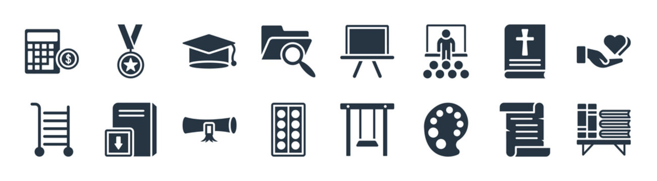 education filled icons. glyph vector icons such as library, paint palette, watercolor, school cart, religion, graduate, chalkboard, medallion sign isolated on white background.