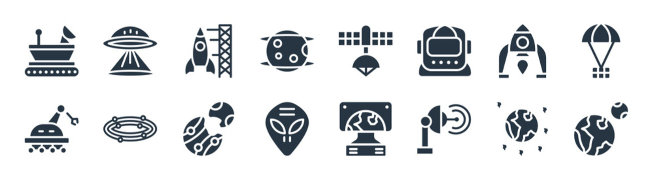 astronomy filled icons. glyph vector icons such as earth and moon, voyager, extraterrestrial, space robot, lander, spaceport, space station, little extraterrestial sign isolated on white