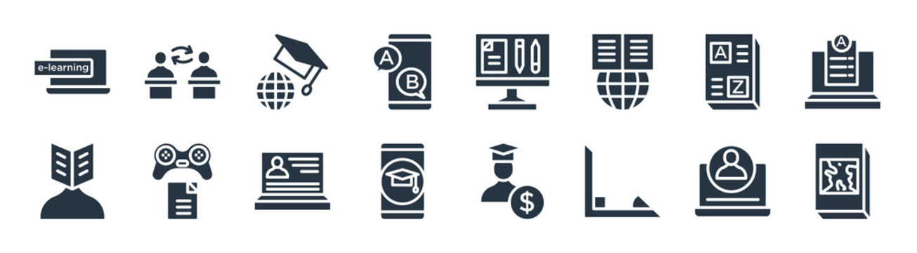 e learning and education filled icons. glyph vector icons such as geography, trigonometry, mobile learning, self-learning, vocabulary, international, sheet, asynchronous learning sign isolated on