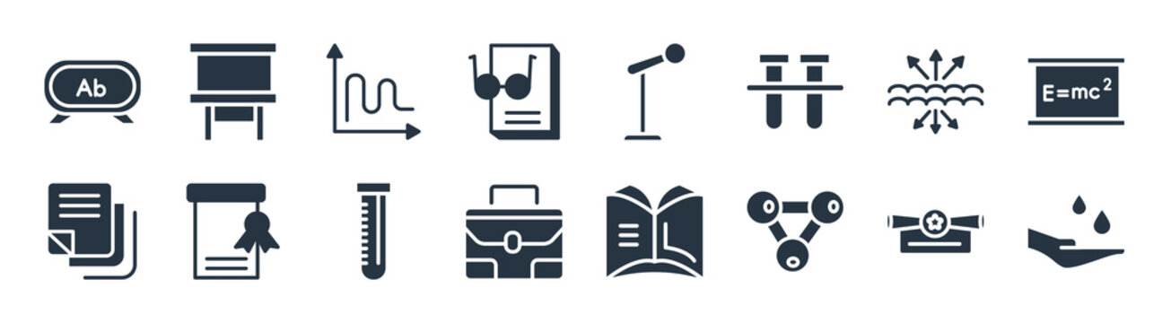 education filled icons. glyph vector icons such as hand care, chemical diagram, case, sticky note, archimedes principle, sinusoid, microphone with stand, writing whiteboard sign isolated on white