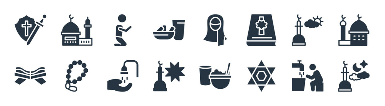 religion filled icons. glyph vector icons such as isha, hebrew, zuhr prayer, quran rehal, assr, muslim man praying, hijab veil, islamic mosque sign isolated on white background.