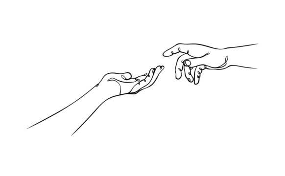 two hands reaching out, one line vector illustration