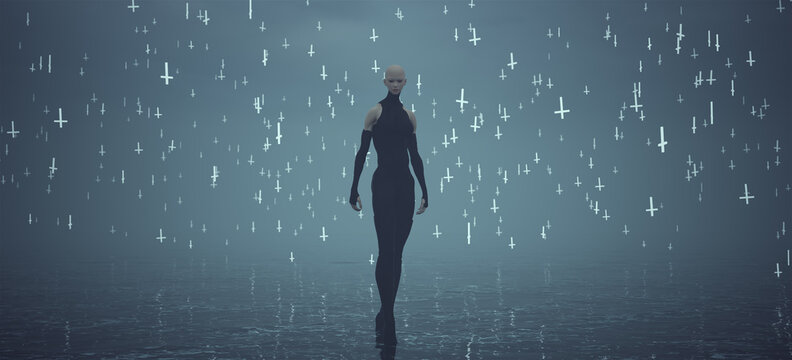 Demon Spirit Very Tall Woman in Black Standing in Water and Floating White Crosses Front View Overcast Day 3d Illustration Render