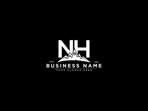 Letter NH Logo, mountain nh logo icon vector for river forest hill landscape silhouette image design