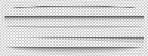 Obraz Paper shadows set on long banner. Divider effect on transparent background. Frame page. Website edge. Border blank. Box shadow. Label shape. Shade tape. Realistic light effect. Vector illustration - fototapety do salonu