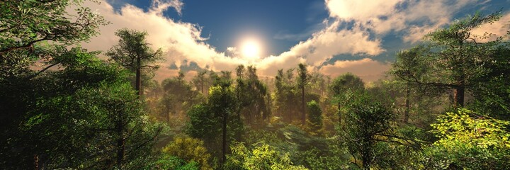 Obraz Beautiful forest at sunrise, panorama of the forest in the morning, evening forest park, 3d rendering - fototapety do salonu