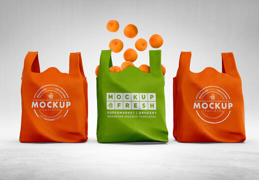 3 Non Woven Bags Packaging Mockup