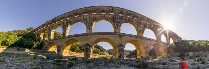 Obraz Panorama of roman aquaduct Pont du Gard near Avignon, France - fototapety do salonu