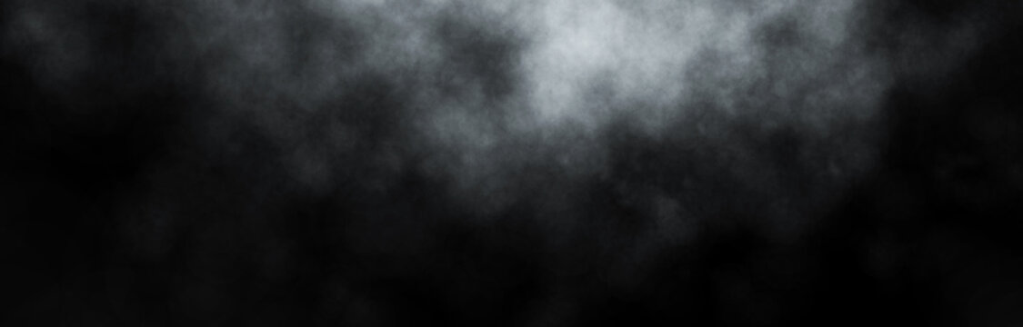 White smoke on black Background. Abstract illustration. 3d rendering.