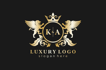 Obraz Initial KA Letter Lion Royal Luxury Logo template in vector art for Restaurant, Royalty, Boutique, Cafe, Hotel, Heraldic, Jewelry, Fashion and other vector illustration. - fototapety do salonu