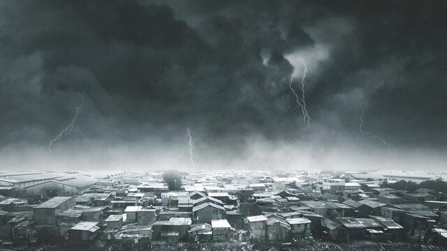 Dense slum neighborhood with stormy sky