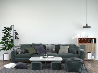 Obraz Living room decorated with chairs, sofa and small plant pots - fototapety do salonu