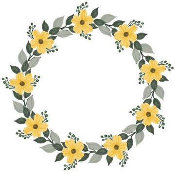 yellow  wreath, circle yellow floral watercolor frame