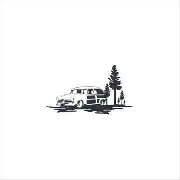 Woody surf wagon illustration Woody Wagon vector Images logo design inspiration