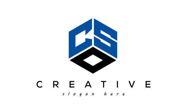 CSO letters creative logo with hexagon