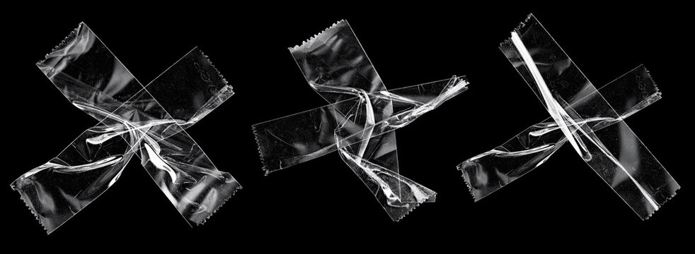 transparent sticky tapes forming the letter x or overlapping each other on black background, crumpled plastic snips, poster design overlays.