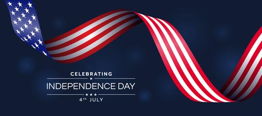 Fototapeta Celebrating Independence day of United States of america with usa flag ribbon waving on dark blue light background vector design obraz