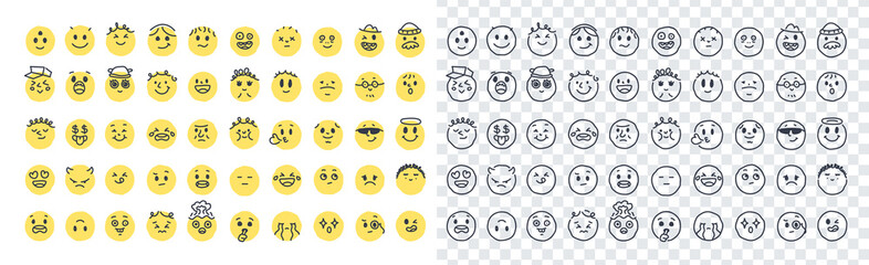 Fototapeta Emoji smiles emoticons set isolated. Yellow faces with different funny emotions. Simple doodle design icons. Chat elements. UI, UX for mobile app, social media or web. Flat style vector illustration. obraz