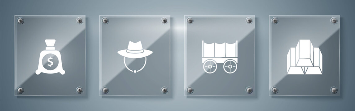 Set Gold bars, Wild west covered wagon, Western cowboy hat and Money bag. Square glass panels. Vector