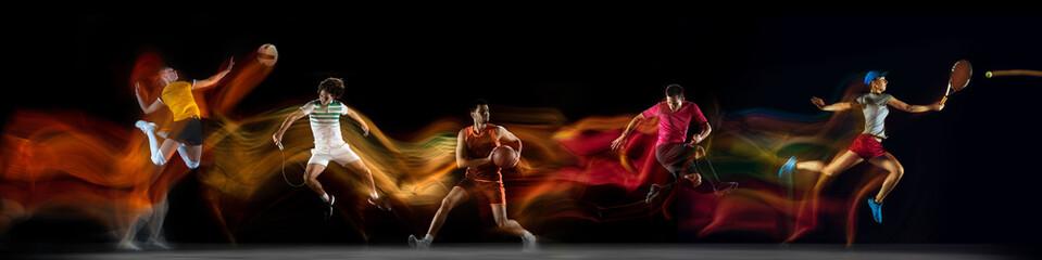 Obraz Sportsmen playing basketball, tennis, soccer footbal, volleyball on black background in mixed light. - fototapety do salonu