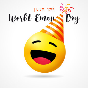 World Emoji Day, funny smile icon in party hat. July 17th, World emoji day text with cute emoticon face on white empty background. Vector illustration