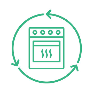 Recycle stove. Recycled home appliances. Cooker with oven inside green circle arrows. Zero waste. Sustainable lifestyle. Reusable waste materials. Kitchen equipment upcycle. Vector illustration.