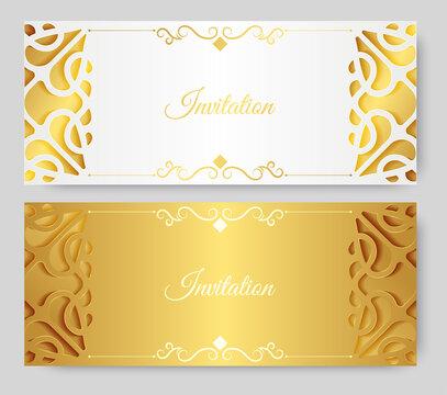 Gold invitation background style ornamental pattern