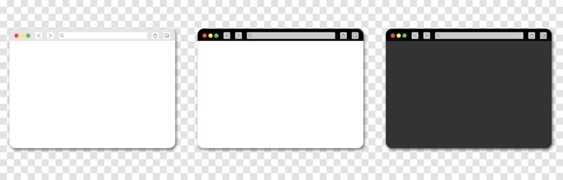 Vinnytsia, Ukraine - July 1, 2021: Set of chrome browser window. Isolated blank desktop web page browser on transparent background. Light and dark theme design
