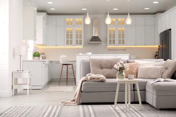 Fototapeta Interior of contemporary apartment with stylish furniture obraz