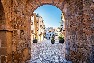 narrow street in old town, ibiza, spain