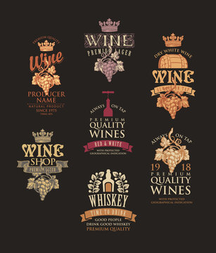 Set of logos, labels, emblems, badges or stickers for a wine and whiskey. Vector tags for alcoholic drinks in retro style with ornate hand-drawn decorations and inscriptions on a black background