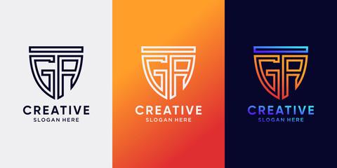 Fototapeta Creative monogram logo design initial letter GA with line art style and shield concept obraz