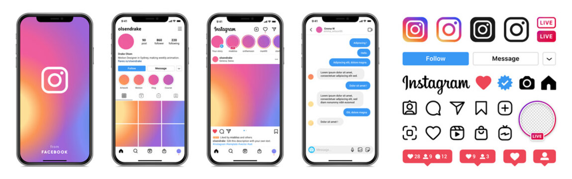 Instagram template app screens on Apple Iphone vector set. Realistic Instagram interface on smartphone: profile, photo, message, storie. Editable text  and blank frames. Editorial vector illustration.
