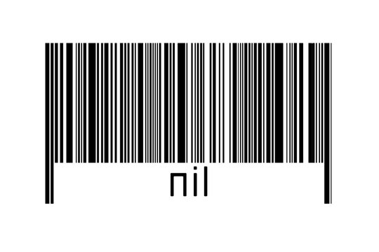 Digitalization concept. Barcode of black horizontal lines with inscription nil