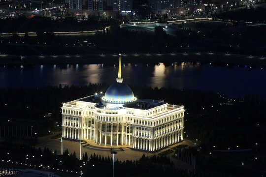 A general view shows Akorda, the official residence of Kazakh President, in Nur-Sultan