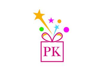 Obraz Gift Box, gift shop letter alphabet P K logo icon for Luxury brand design for wedding invitations, greeting card, logo, and other design. - fototapety do salonu