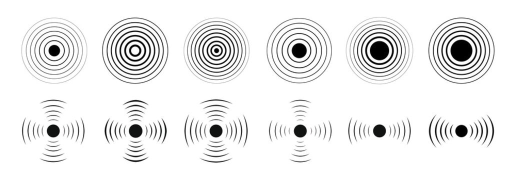 Set of radar icon. Sonar waves icon. Vector illustration