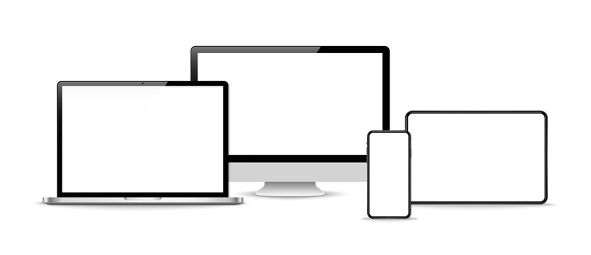 Set of realistic computer monitors, laptops, tablets and mobile phones . Vector illustration