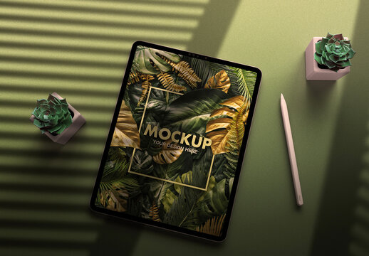 Tablet Mockup on a Dark Purple Sparkle Desk with Trendy Gold Succulents Flowers