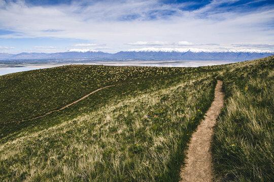 hiking trail winds through lush green grass Frary Peak Antelope Island