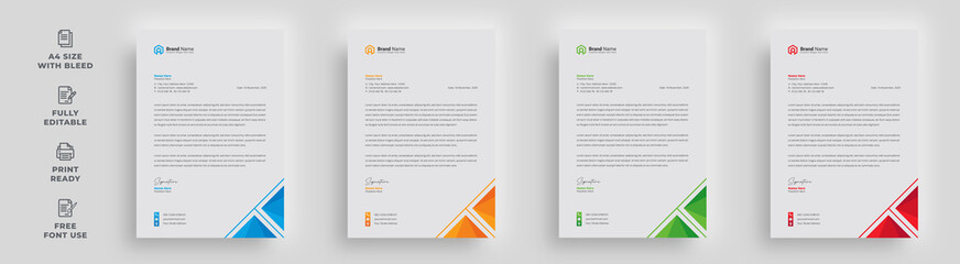 Fototapeta letterhead corporate business official company creative minimal abstract professional newsletter magazine poster advertising template print-ready design with a logo obraz