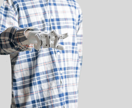 human like robot in casual clothes, futuristic technology, black and white metal hand