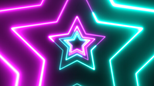 Neon star technology looping 3D room background