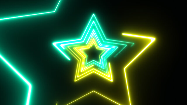 Neon half star technology looping 3D room background