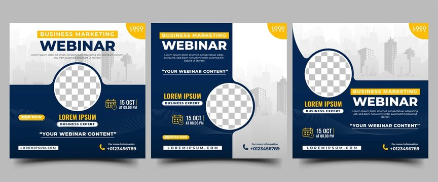 Business webinar conference social media post template collection. Modern square banner with city illustration and place for the photo. Usable for social media, banners, and websites.