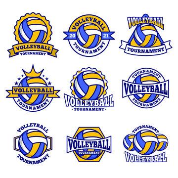 Volleyball logo emblem set collections