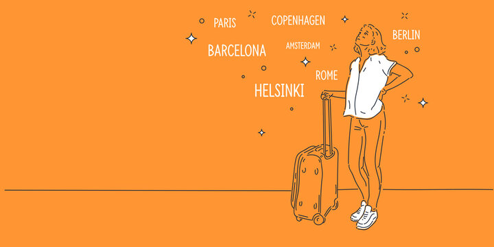 The girl stands with a suitcase and thinks about the trip. A young woman is thinking about where to go.