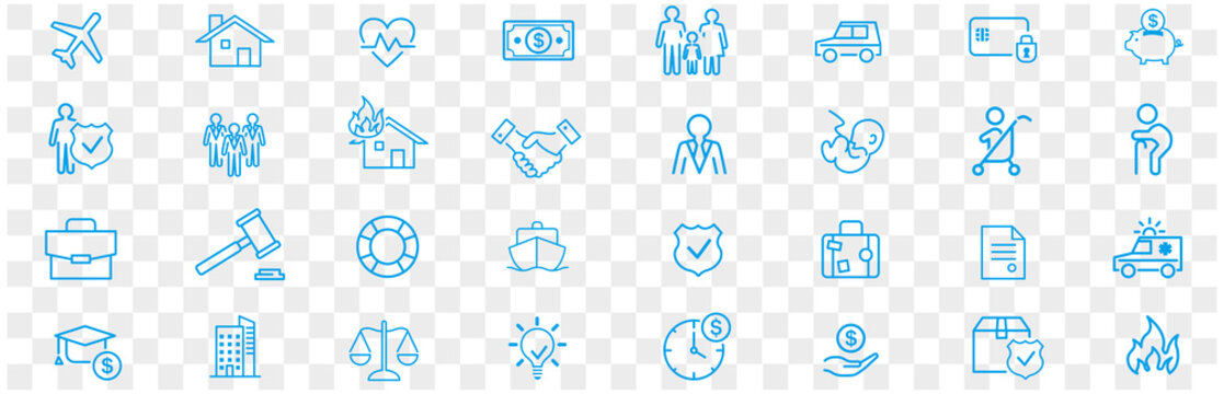 Insurance icon set vector illustration.