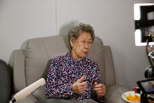 """Former South Korean """"comfort woman"""" Kang Il-chul speaks during an interview with Reuters at the House of Sharing in Gwangju-si"""